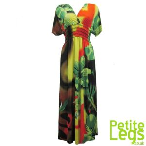Kerry Kimono Style Maxi Dress | Tropical Floral Colours: Green & Yellow | UK Size 6/8 | Petite Height 4ft9